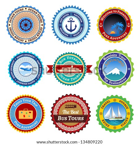 Set of labels, badges and stickers on travel. Raster version. - stock photo