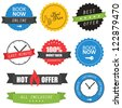 Set of labels, badges and website elements for hotels - stock