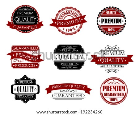 Set of labels for design with quality and guarantee headers. Vector version also available in gallery