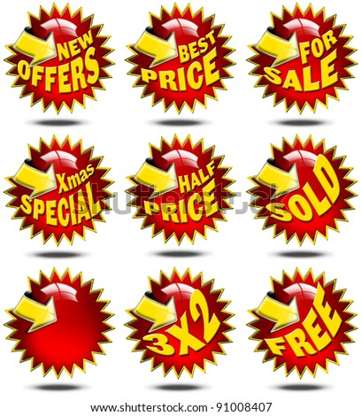 Set of labels for sale with promotions and yellow arrow