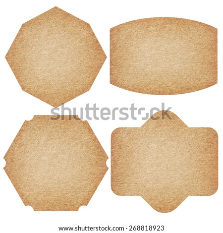 Set of labels from recycled paper isolated on white background.