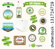 Set of labels, logos and stickers on organic and natural food. Raster version. - stock photo