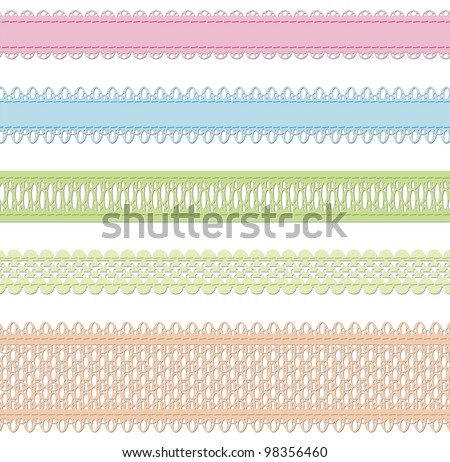 Set of laces over white - stock photo