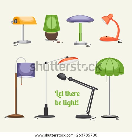 Set of lamps. Furniture and floor lamps and table lamps