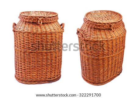 Set of  large wicker basket isolated on white background - stock photo