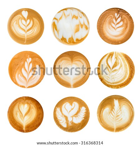 Set of Latte Art top view on White background. - stock photo