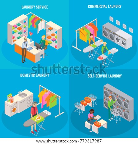Laundry services flyer stock images royalty free images vectors set of laundry concepts laundry service commercial domestic and self service laundry pronofoot35fo Image collections