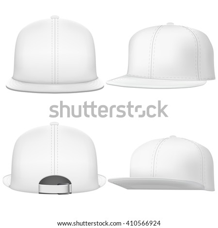 Set of Layout of Male white rap cap. A template simple example. Editable  Illustration isolated on white background. - stock photo