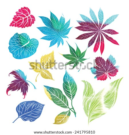 Set of leafs and plants watercolor design elements - stock photo