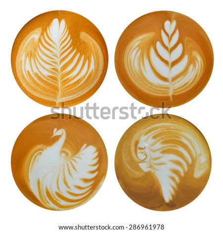 Set of leafs,bird,red indian Latte Art, coffee isolated on white background - stock photo