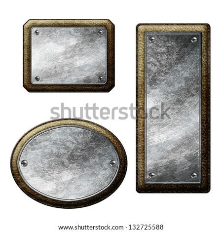 Set of leather labels - stock photo