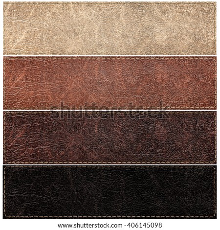 set of leather labels of different colors