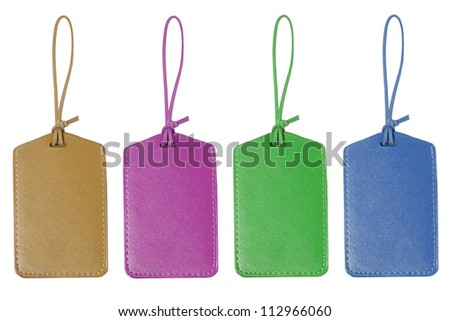 Set Of Leather Tag Isolated On White Background - stock photo