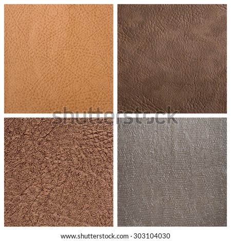 Set of leather textures - stock photo