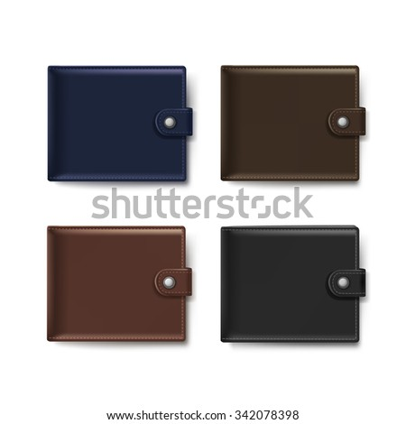 Set of Leather Wallets Isolated on White Background