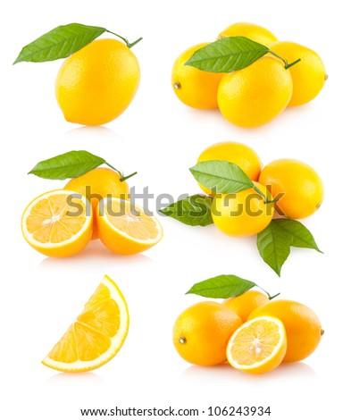 set of 6 lemon images - stock photo