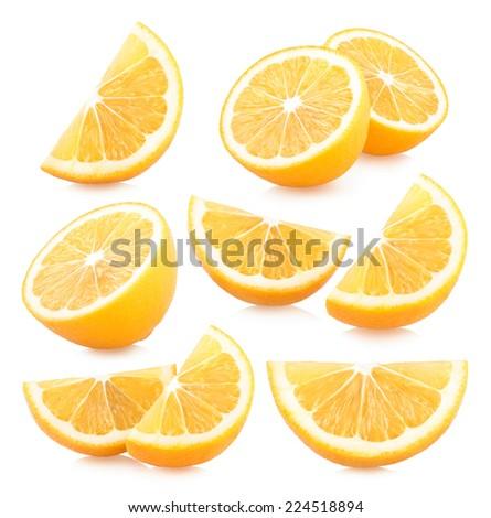 set of lemon slices images - stock photo