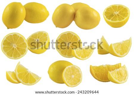 set of lemons and lemon slices isolated on white background - stock photo
