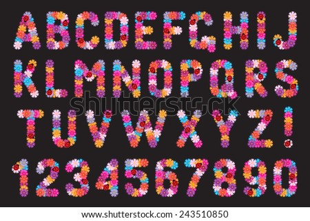 Set of letters and numbers of flowers with ladybirds. - stock photo