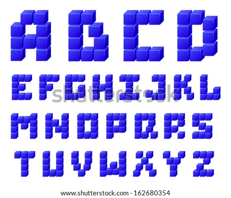 Set of letters constructed of blocks. Raster version