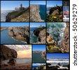 set of lighthouse photos, st. Vincent, Algarve, Portugal - stock photo