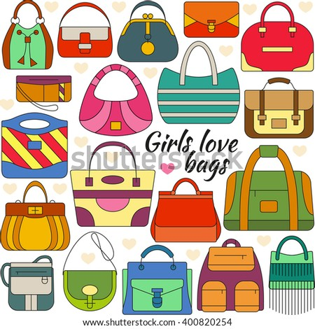 Set of line icon. Different women bags and place for your text