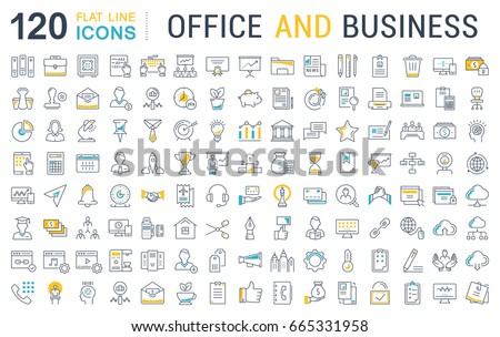 Set Of Line Icons In Flat Design Office And Business With Elements For  Mobile Concepts And