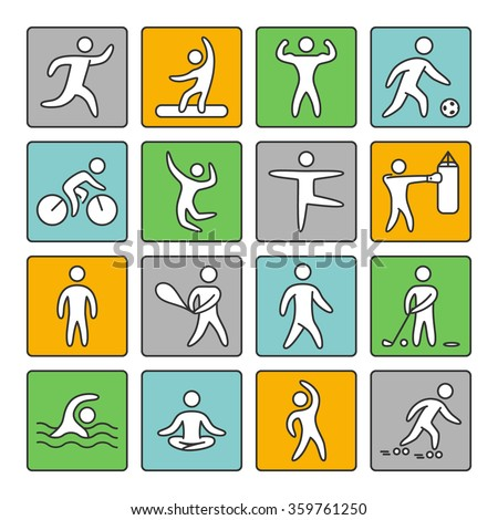Set of linear icons for popular sports. Shapes athletes on a white background.