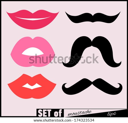 Set of lips and mustaches. JPG version. - stock photo