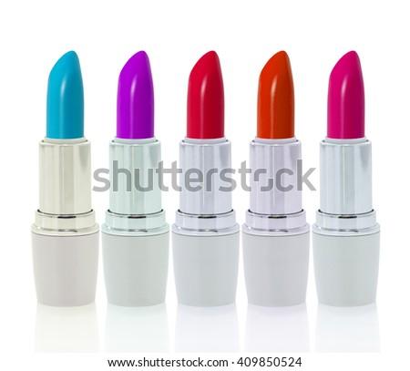 Set of lipsticks isolated on white background - stock photo