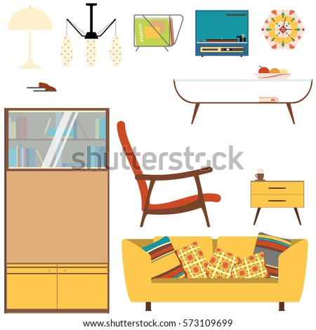 Set Of Living Room Interior Objects With Yellow Sofa, Bookcase And Armchair  In The Style Part 16