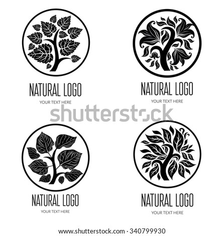 Set of logos with leafs - natural product - stock photo