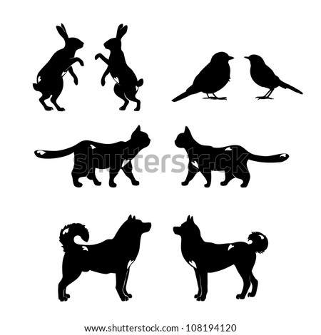 Set of lovely animal lovers couples: hares, birds, cats, dogs. - stock photo