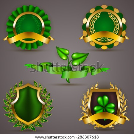 Set of luxury gold badges, shields with floral laurel wreath, ribbon. 100 % premium organic, eco friendly, gmo free. Emblem, icon, logo, label, medal, sticker for web, page design. Illustration. - stock photo