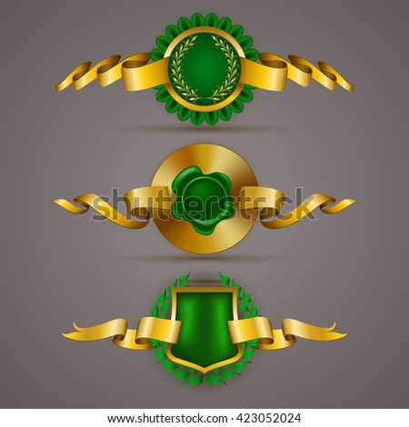 Set of luxury gold badges with floral elements, stars, laurel wreath, wax seal. 100 percent pure organic, best choice. Eco emblem, bio icon, logo, label, medal, tag for web, page design. Illustration - stock photo