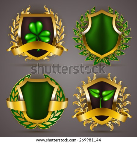 Set of luxury gold badges with floral laurel wreath, ribbons. 100 % fresh, gmo free, eco friendly, pure organic. Bio emblem, icon, logo, label, medal, sticker for web, page design. Illustration. - stock photo