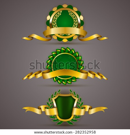 Set of luxury gold badges with floral laurel wreath, ribbons. 100 % premium organic product, 100 % natural, gmo free. Eco emblem, icon, logo, label, medal, sticker for web, page design. Illustration. - stock photo