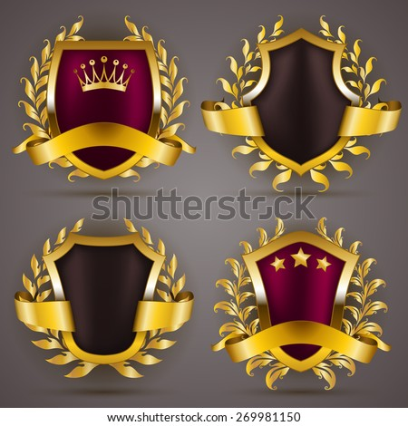 Set of luxury golden badges with laurel wreath, ribbons. Top quality, premium choice, best offer, 50 % off. Promotion emblems, icons, labels, medal, blazons for web, page design. Illustration.