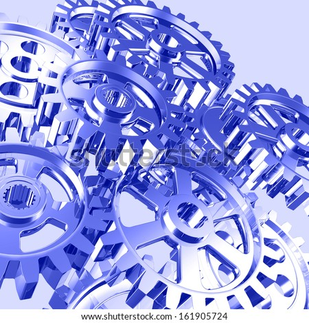 Set of machine gears artistic illustration - stock photo