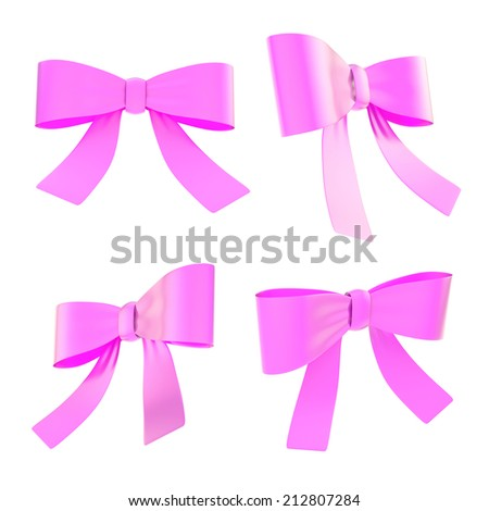 Set of magenta decorational ribbon bows in four different foreshortenings, isolated over white background - stock photo