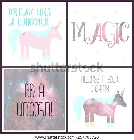 Set of magical cards with a unicorn - stock photo