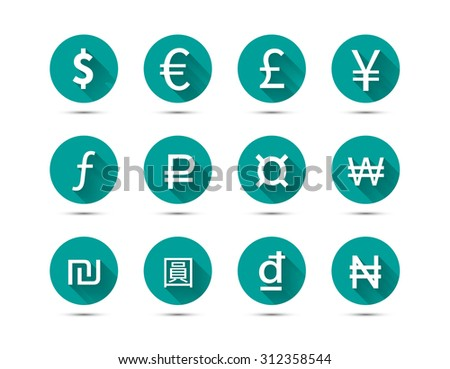 Set of main currency signs flat icons with long shadow on green background isolated on white - stock photo