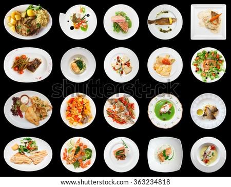 Set of main fish courses isolated on black background - stock photo