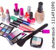 set of makeup products isolated on white background - stock