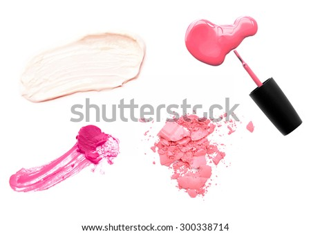 Set of makeup samples on white background - stock photo