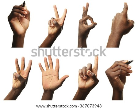 Set of male hands gestures, isolated on white - stock photo