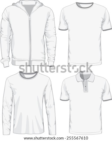 Set of male shirts. Raster version - stock photo
