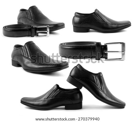 set of male shoes and belts - stock photo
