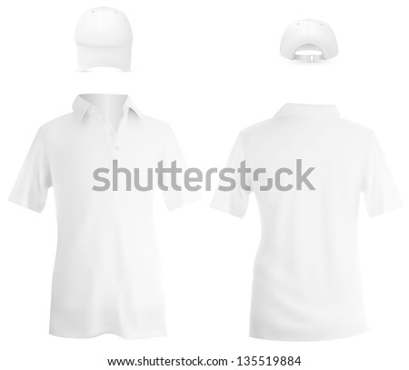 Set of male white polo and a baseball cap template. - stock photo