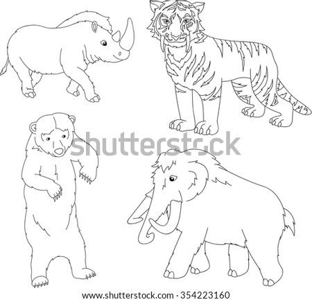 Set of mammoth, prehistoric bear, saber-toothed tiger and rhino. Coloring book for kids. illustration - stock photo